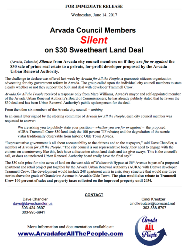 Press Release - Council Silent $30 Deal 6-14-17