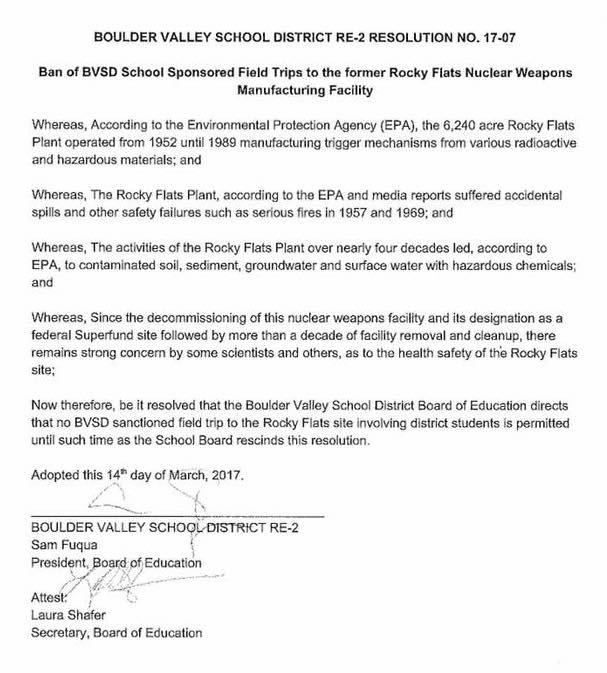 Boulder Schools-No Rocky Flats Field Trips