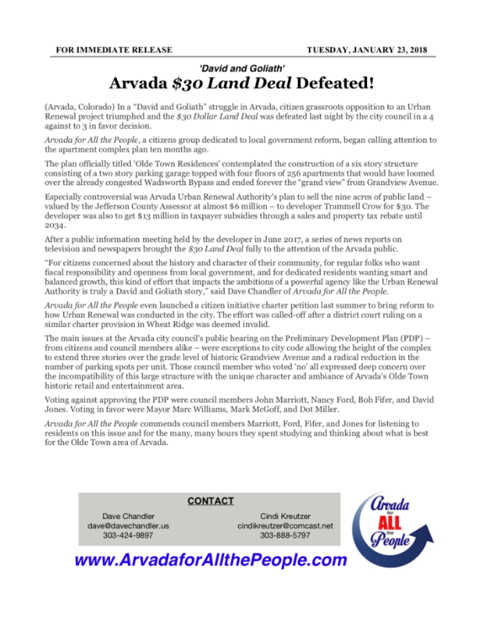 NR-Arvada $30 Land Deal Defeated