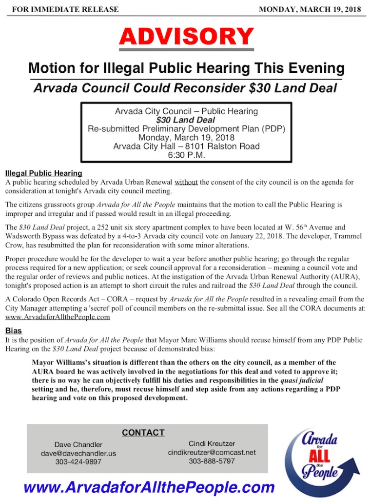 PR-Advisory Rehearing $30 Land Deal 3-19-18